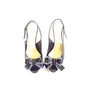 Kate Spade Black Leather Peep Toe Heels
